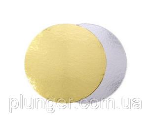 Подложка круглая под торт 13 см золото/серебро