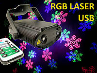 Лазер диско с пультом ДУ, USB, новогодний, лазерный проектор, светомузыка