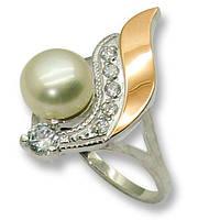 Кольцо из серебра с золотыми вставками, модель 067