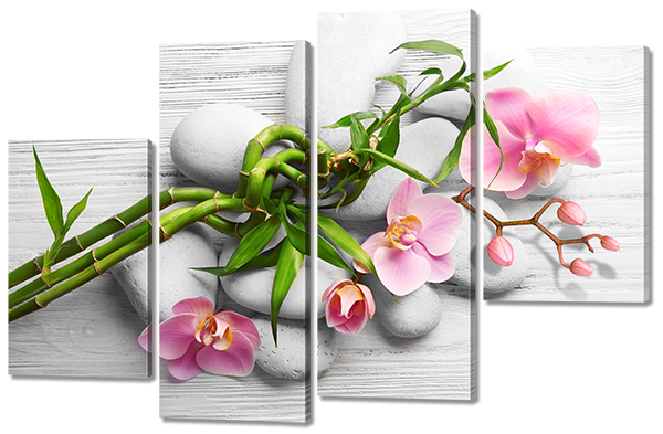 Модульная картина Interno Холст Орхидея на белых камнях 146x96см (R733XL)