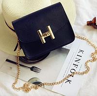 Женский клатч сумка на цепочке в стиле гермес Черный