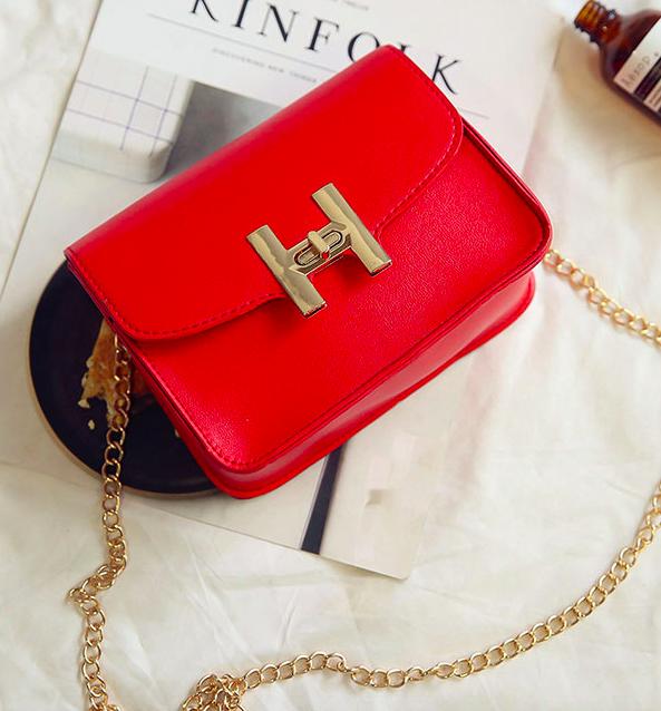 """Женская сумка клатч на цепочке в стиле """"Гермес"""" Красный"""