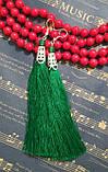 Серьги кисти Зеленые длина 11 см, серьги кисточки шелк, вставки натуральный камень, тм Satori, фото 3