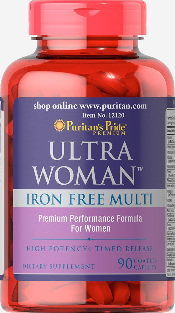 Puritan's Pride Ultra Women Iron Free, Жіночі вітаміни без заліза (90 таб.)