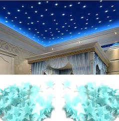 Люминесцентные голубые звездочки - в наборе 90-100шт., пластик, в набор входит 2-х сторонний скотч