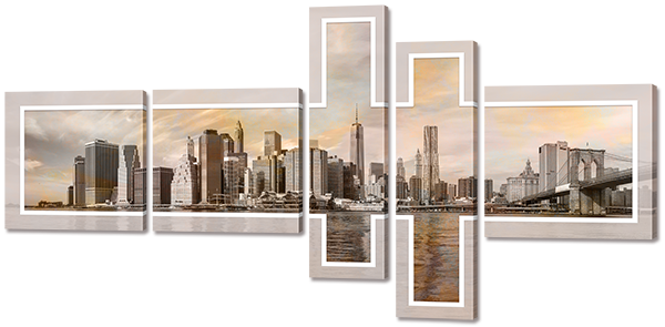 Модульная картина Interno Холст Мегаполис 188x95см (R735XL)