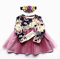 Дизайнерское детское платье Andriana Kids с фатином и повязкой