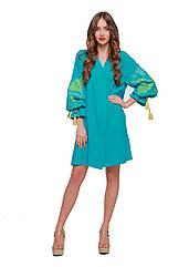 Вышиванка платье-туника 2KOLYORY Первоцвіт M L Бирюзовый 3050-M L, КОД: 266142