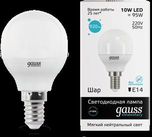 Светодиодная лампа GAUSS Elementary G45 10Вт 4100K E14 180-240В