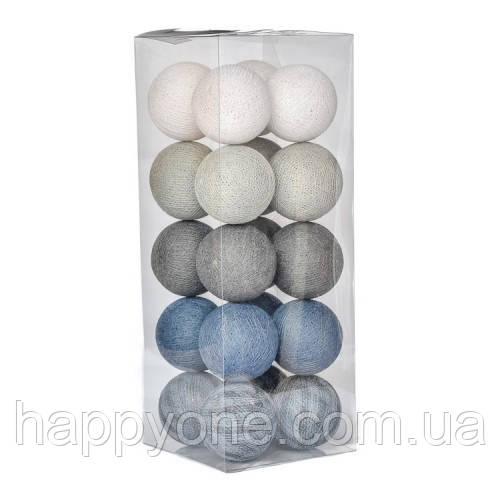 """Тайская гирлянда """"Stone-blue Mix"""" (20 шариков) линия"""