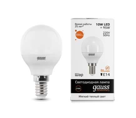 Светодиодная лампа GAUSS Elementary G45 10Вт 3000K E14 180-240В