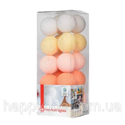 """Тайская гирлянда """"Peach pastel"""" (20 шариков) линия"""