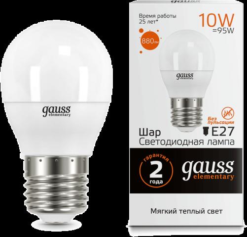 Светодиодная лампа GAUSS Elementary G45 10Вт 3000K E27 180-240В