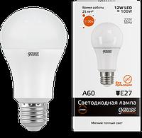 Светодиодная лампа GAUSS Elementary A60 12Вт 3000K E27 180-240В