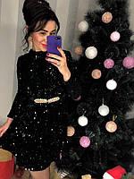 Черное расклешенное платье с пайеткой