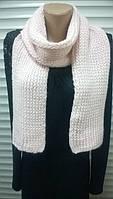 вязаный шарф из полушерсти  английская резинка  цвет  светло - розовый