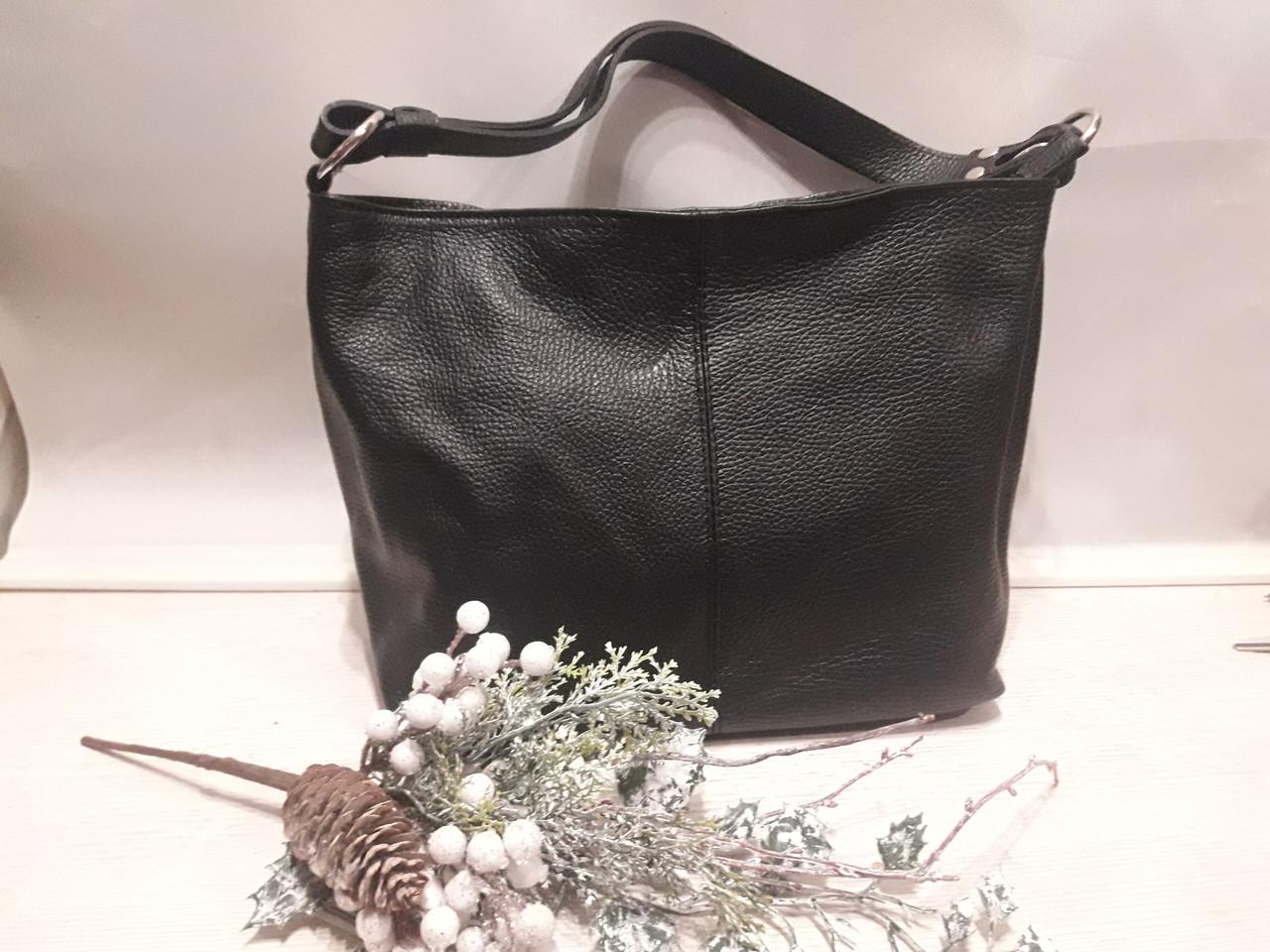 543191b87b5c Женская кожаная чорная сумка на длином ремешке через плече на два отделения  на молнии - Feminine