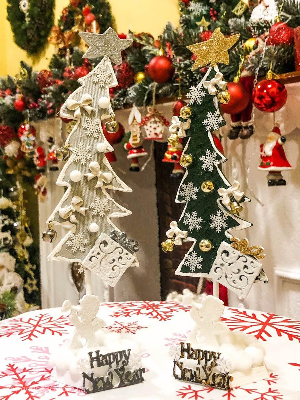 Новогодняя ёлка 2019 игрушка-сувенир, Новогодний декор Happy New Year и Merry Christmas