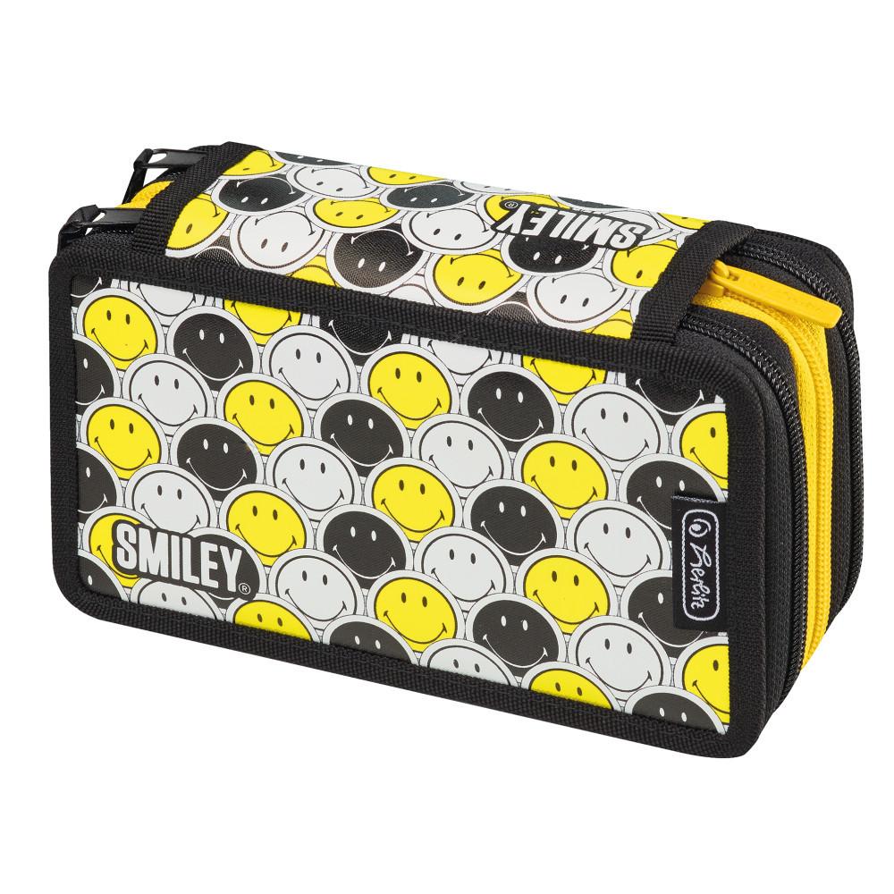Пенал пустой 3 отделения Herlitz Triple Smileyworld Black & Yellow (50015436)