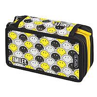 Пенал пустой 3 отделения Herlitz Triple Smileyworld Black & Yellow (50015436), фото 1