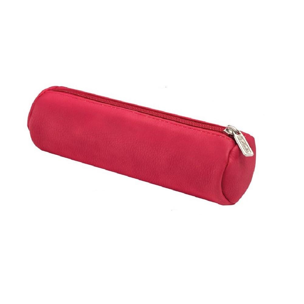 Пенал-косметичка Herlitz Round Leather замшевый розовый (8200883R)