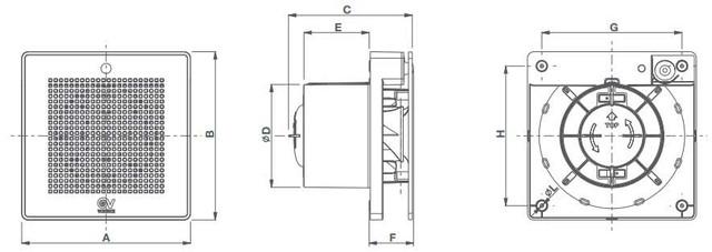 Габаритные размеры вытяжного вентилятора Vortice Evo