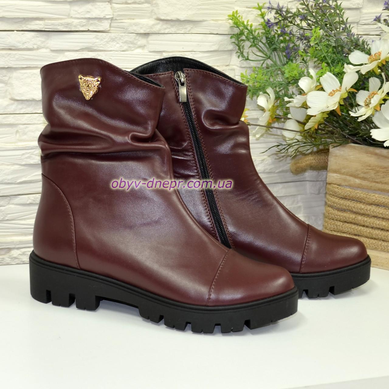 Стильные женские ботинки из бордовой кожи, утолщенная тракторная подошва