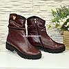 Стильные женские ботинки из бордовой кожи, утолщенная тракторная подошва, фото 4