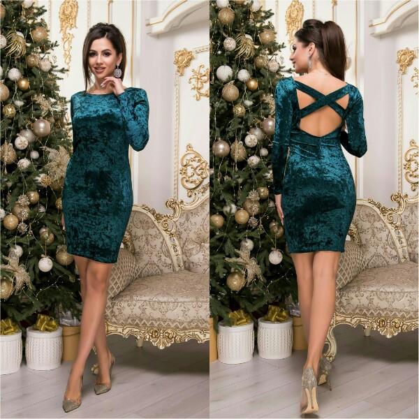 Велюровое платье с длинным рукавом, на спине переплет / 3 цвета арт 8029-547