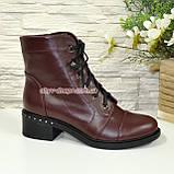Ботинки женские демисезонные кожаные на невысоком каблуке, на шнурках, фото 2