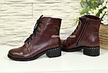 Ботинки женские демисезонные кожаные на невысоком каблуке, на шнурках, фото 3