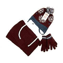 Шапка шарф перчатки Suve для 3-6 лет Коричневый TUR 50126 snow brown, КОД: 152798