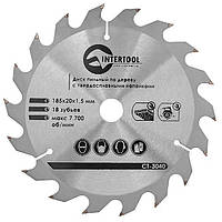 Диск пильный INTERTOOL по дереву 185x20x15 18, КОД: 295245