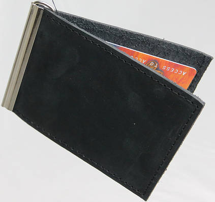 Кожаный зажим для купюр ручной работы Vladymir Pankratov VP20013 черный