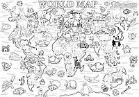 Мега раскраска Карта мира 64 х 90 см, КОД: 256888