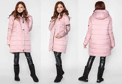 915824155cd Удлинённая женская зимняя куртка синтепон + овчина до больших размеров 581