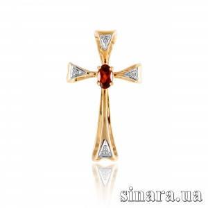 Золотой крестик с гранатом и цирконием 30102