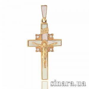 Золотой крестик с перламутром 21264