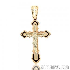 Золотой крестик с эмалью 27037