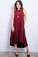 Бордовое льняное платья - Гортензия - , фото 1