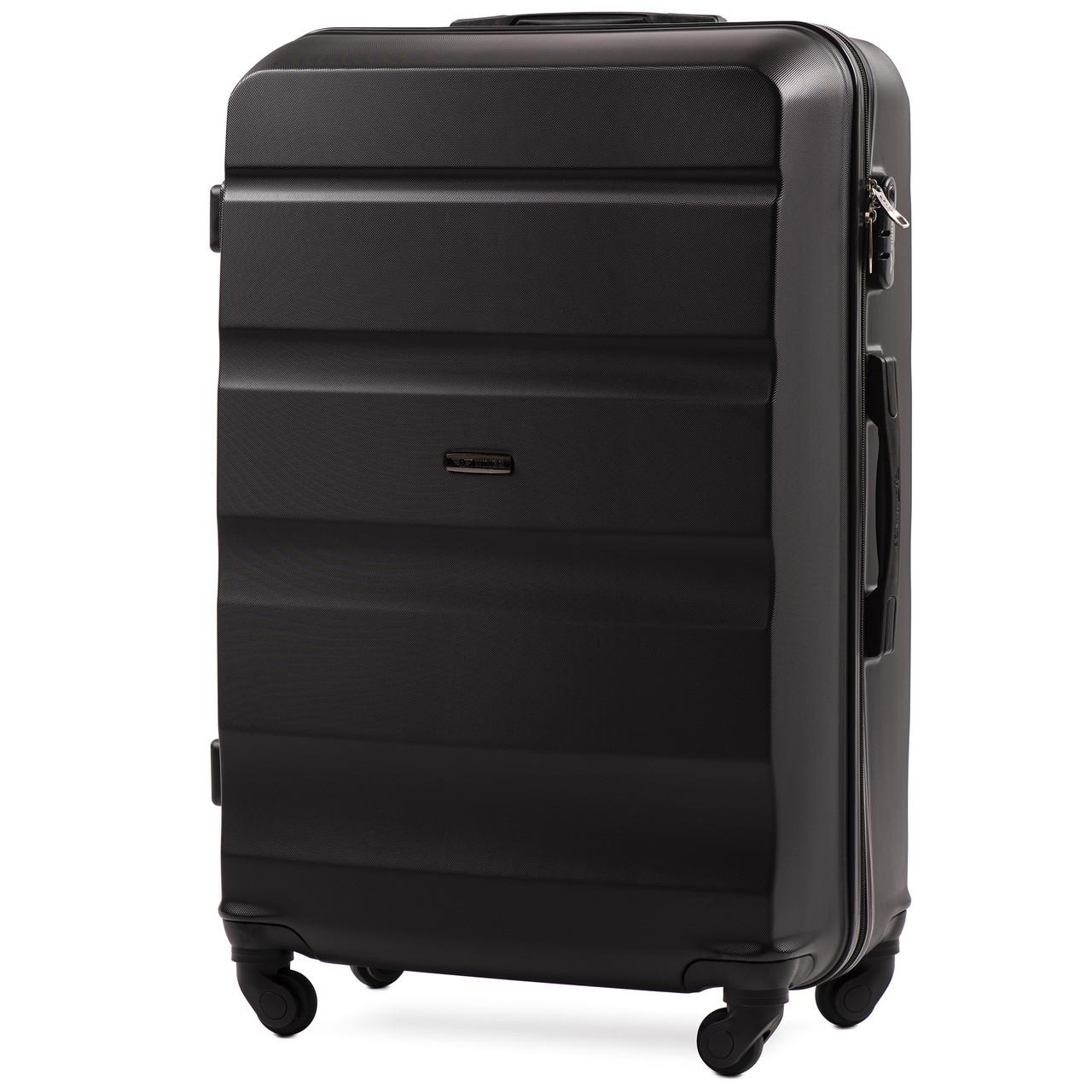 Большой пластиковый чемодан Wings AT01 на 4 колесах черный