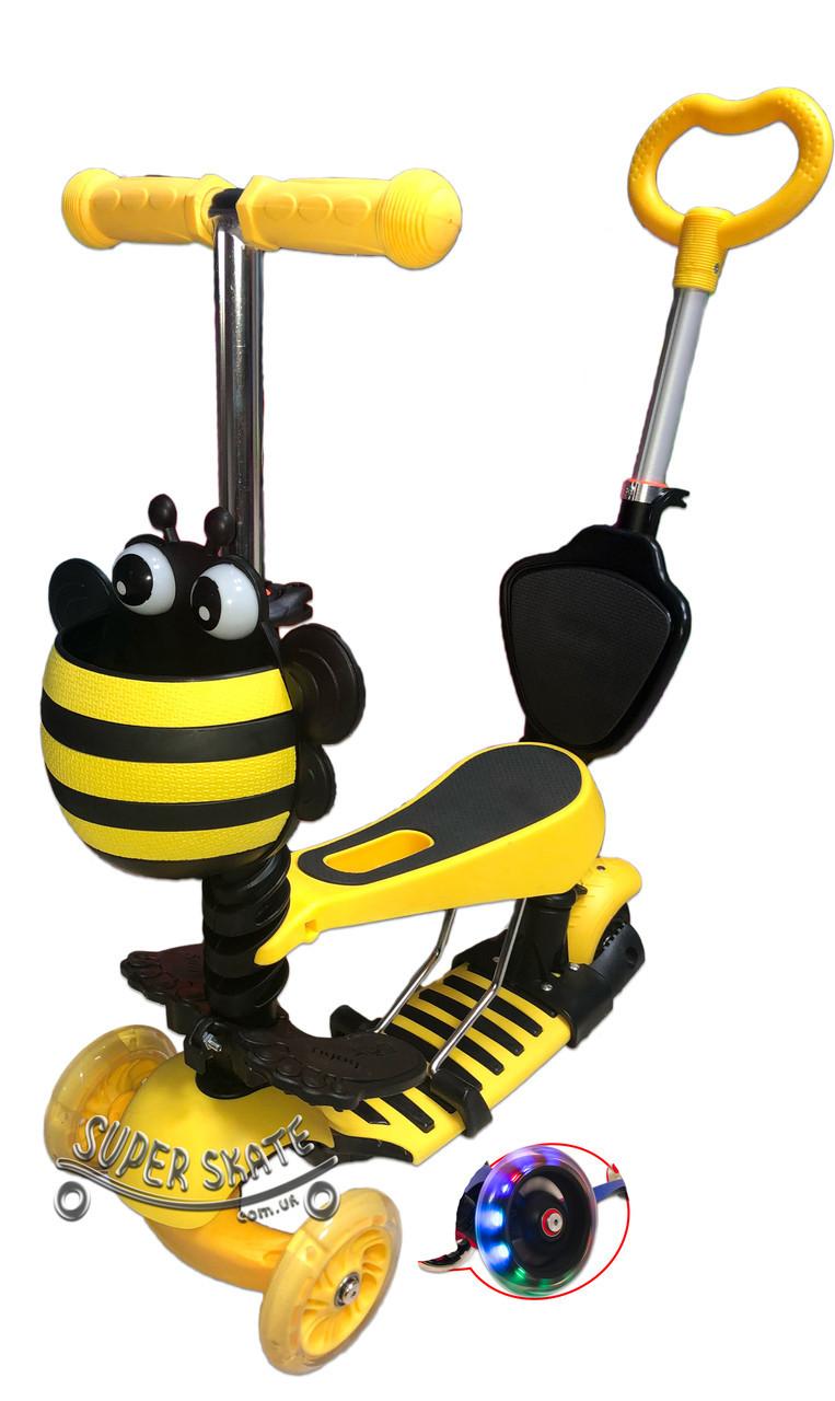 Трехколесный Детский Самокат Беговел 5 в 1 Scooter - С родительской ручкой и сиденьем - Пчелка, Желтый