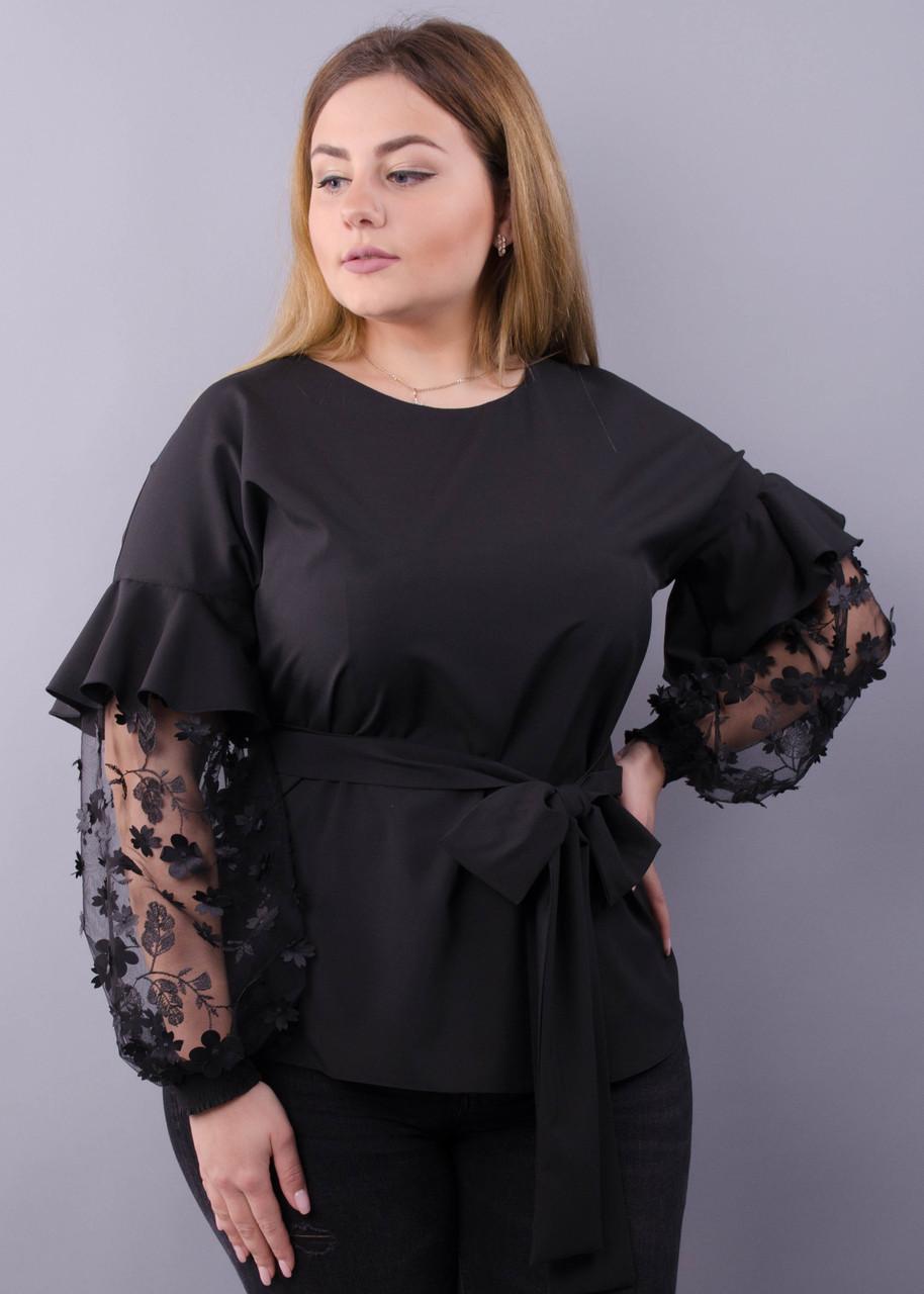 Блузка нарядная с кружевом Карина черный