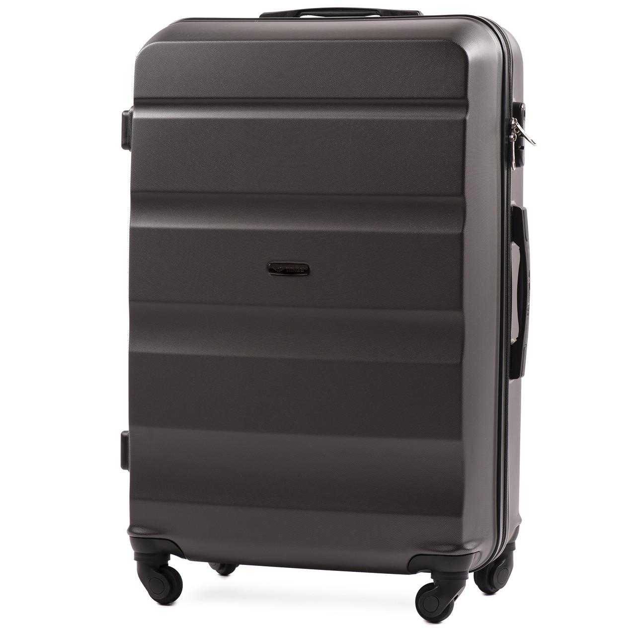 Большой пластиковый чемодан Wings AT01 на 4 колесах серый