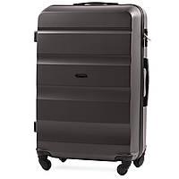 Большой пластиковый чемодан Wings AT01 на 4 колесах серый, фото 1