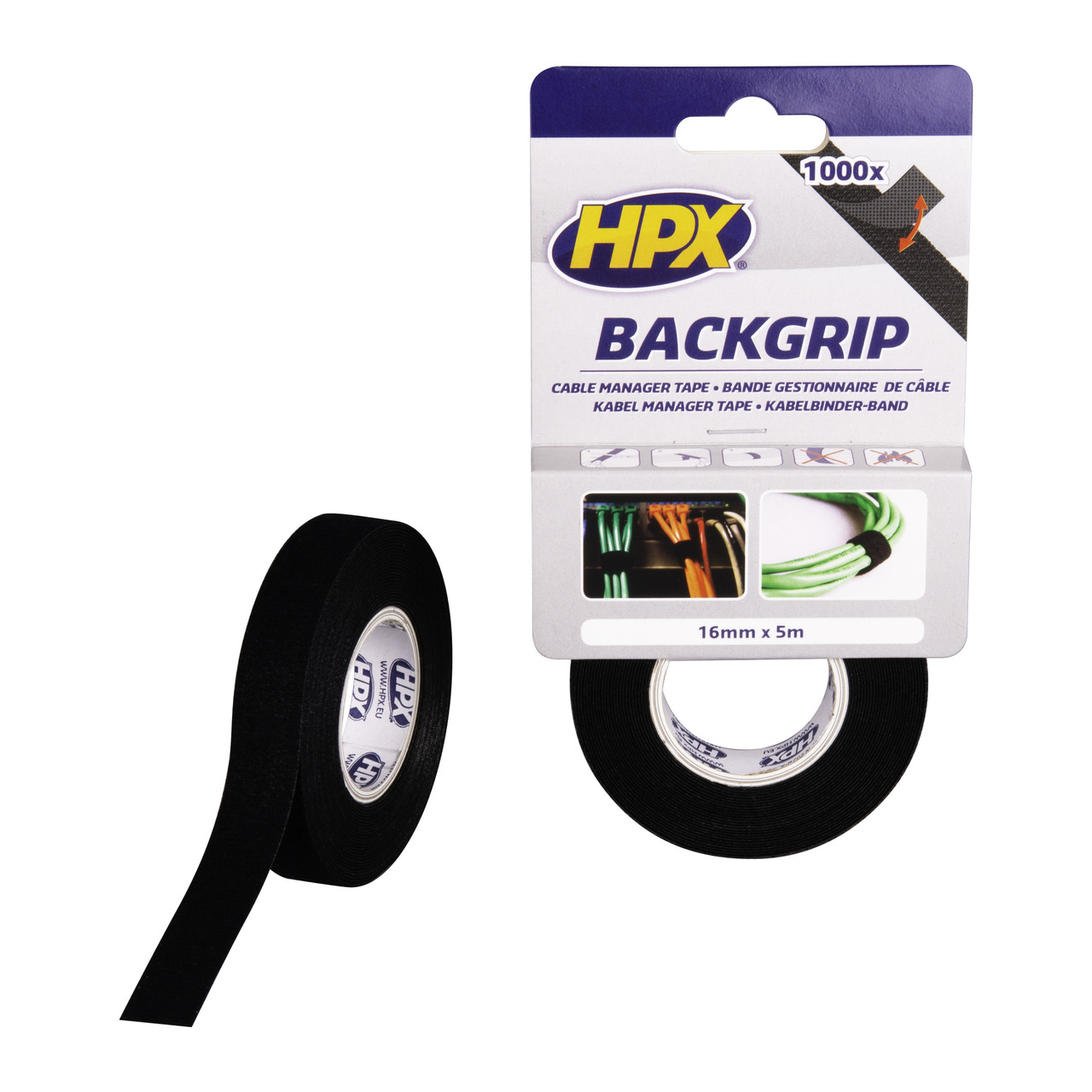 HPX BACKGRIP - Стяжка-липучка для бандажа кабелей 16мм x 5м х 1.25мм, чёрная, для многократных креплений