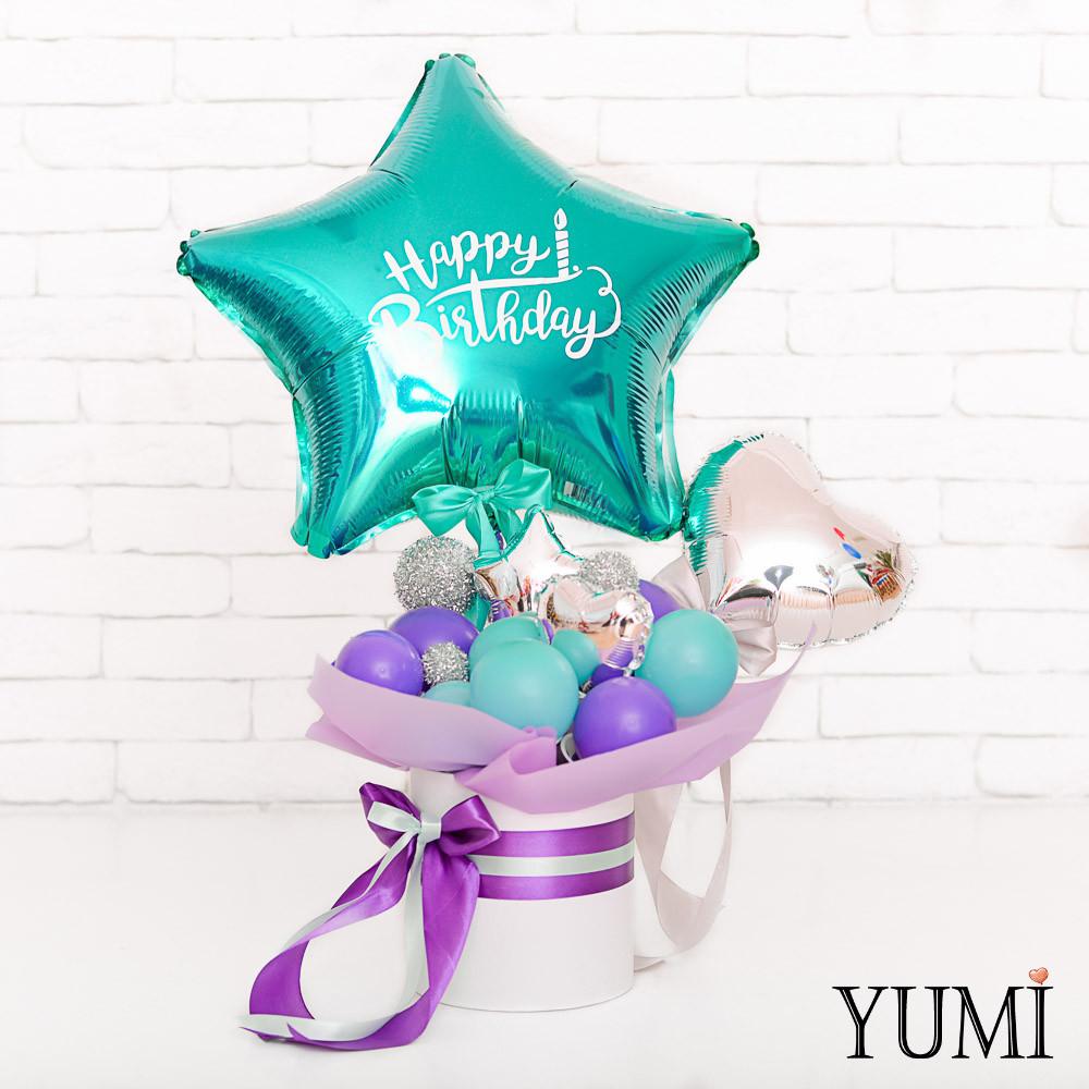 Композиция из мини-фигур с изумрудной звездой Happy Birthday