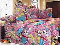 Детское постельное белье Принцесса полуторное хлопок розовое