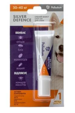 PALLADIUM SILVER DEFENCE ПАЛЛАДИУМ СИЛЬВЕР ДЕФЕНС капли на холку от блох, клещей и комаров для собак весом 30 - 40 кг