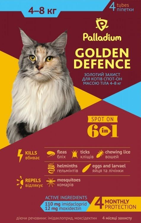 PALLADIUM ПАЛЛАДИУМ капли от блох и клещей для кошек от 4 до 8 кг, 1 пипетка